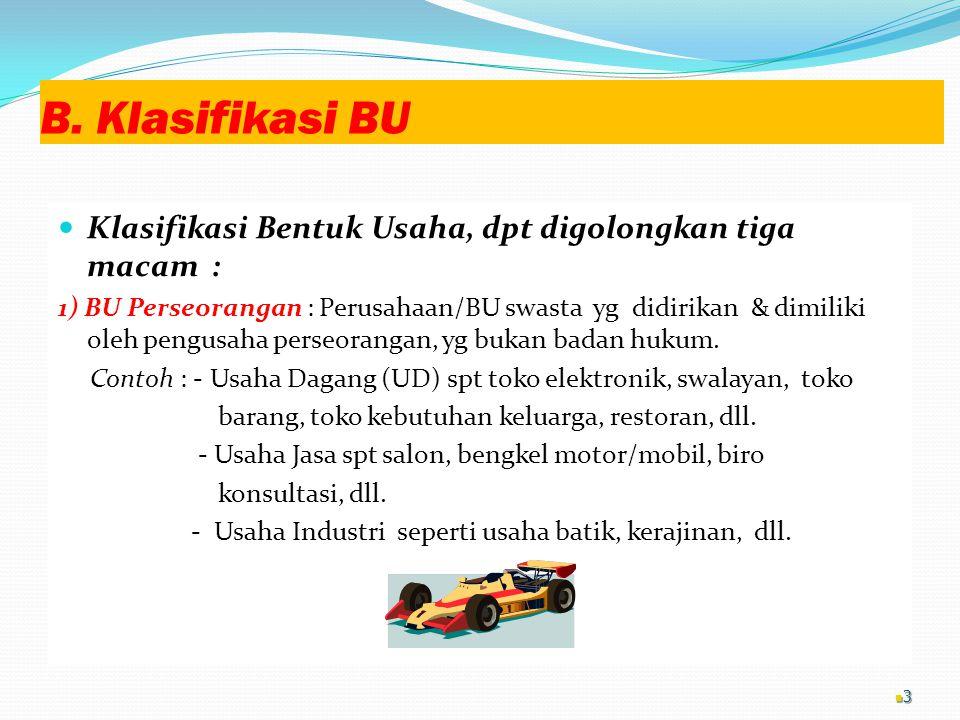 B. Klasifikasi BU Klasifikasi Bentuk Usaha, dpt digolongkan tiga macam :