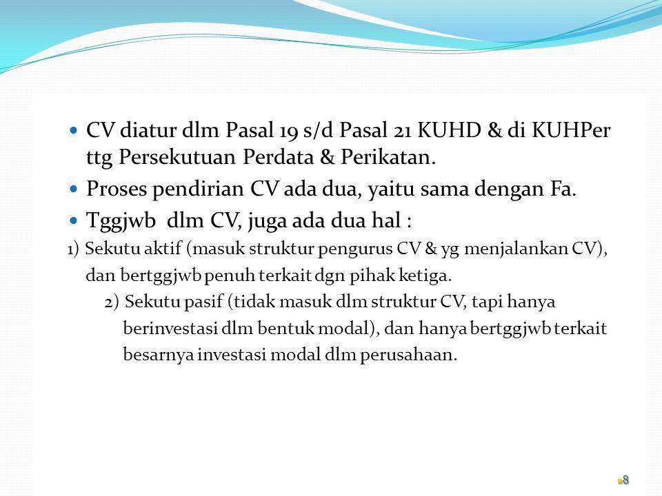 Proses pendirian CV ada dua, yaitu sama dengan Fa.