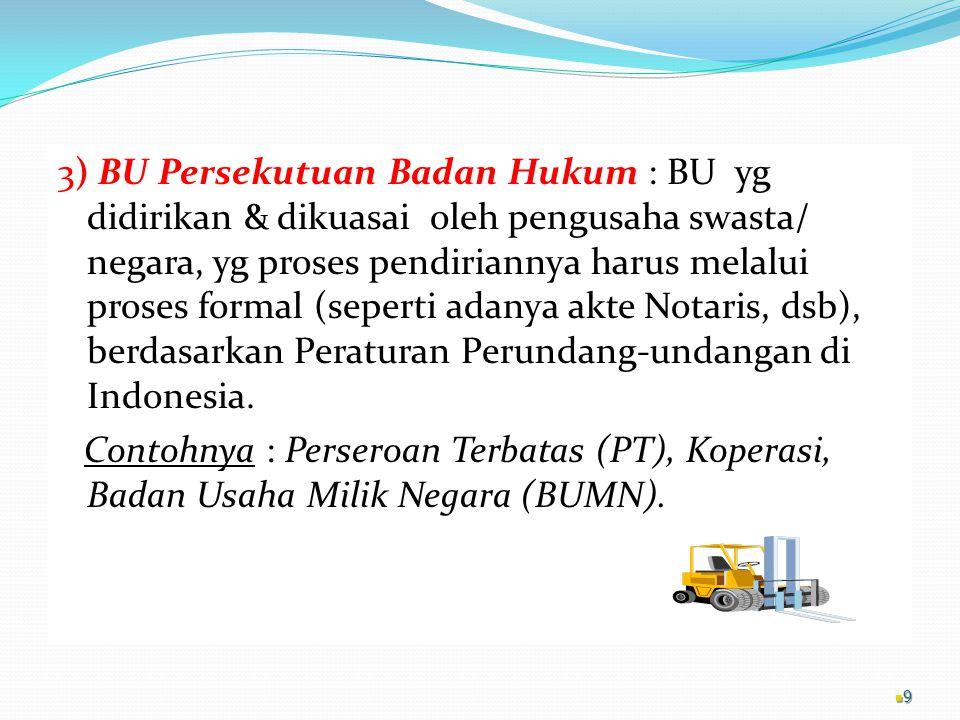 3) BU Persekutuan Badan Hukum : BU yg didirikan & dikuasai oleh pengusaha swasta/ negara, yg proses pendiriannya harus melalui proses formal (seperti adanya akte Notaris, dsb), berdasarkan Peraturan Perundang-undangan di Indonesia.