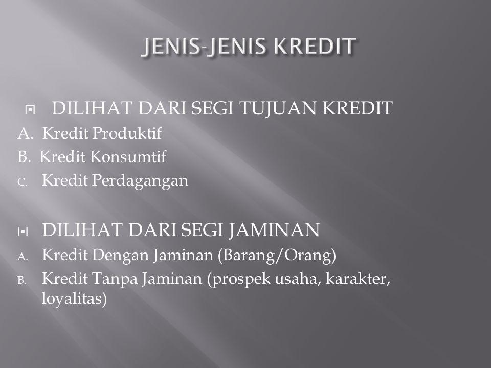 JENIS-JENIS KREDIT DILIHAT DARI SEGI TUJUAN KREDIT