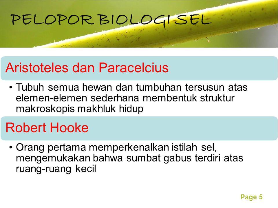 PELOPOR BIOLOGI SEL Aristoteles dan Paracelcius