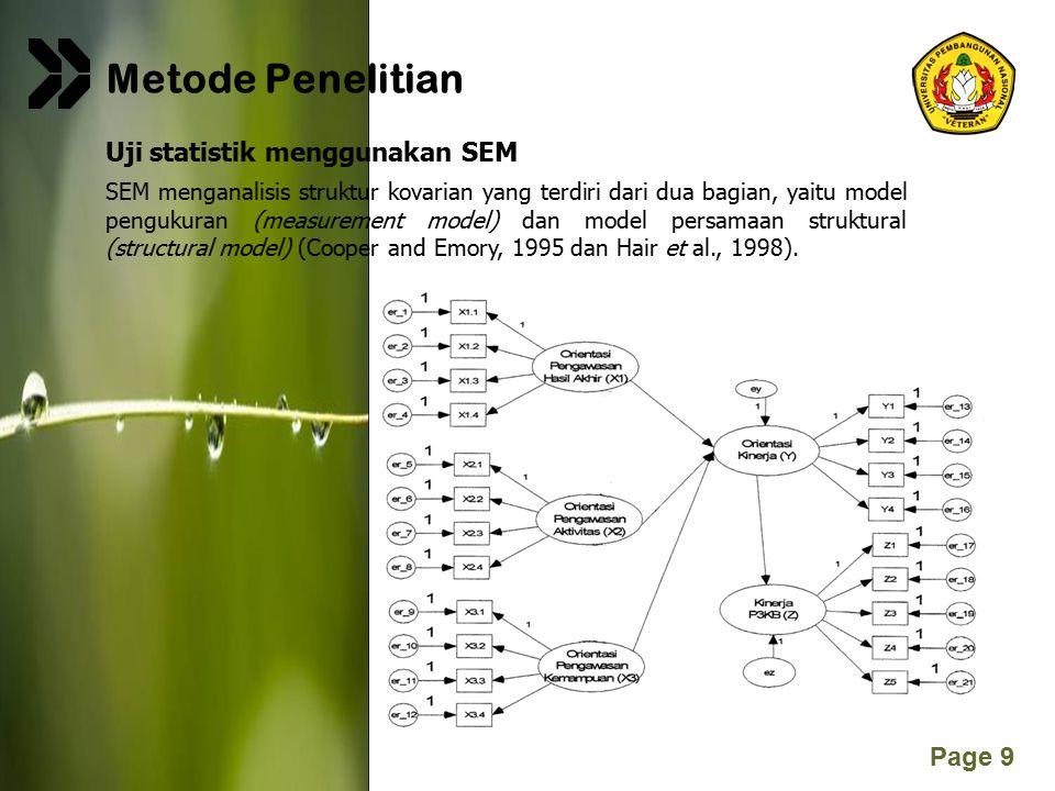Metode Penelitian Uji statistik menggunakan SEM
