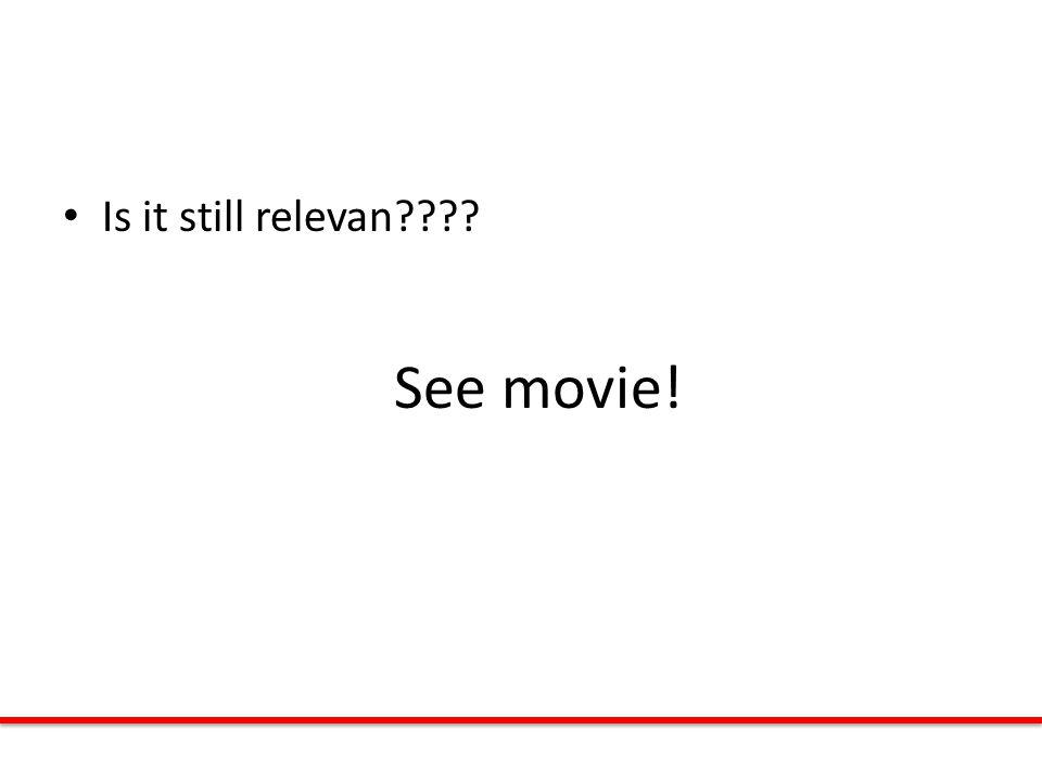 Is it still relevan See movie!