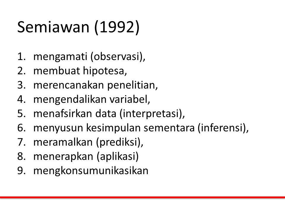 Semiawan (1992) mengamati (observasi), membuat hipotesa,
