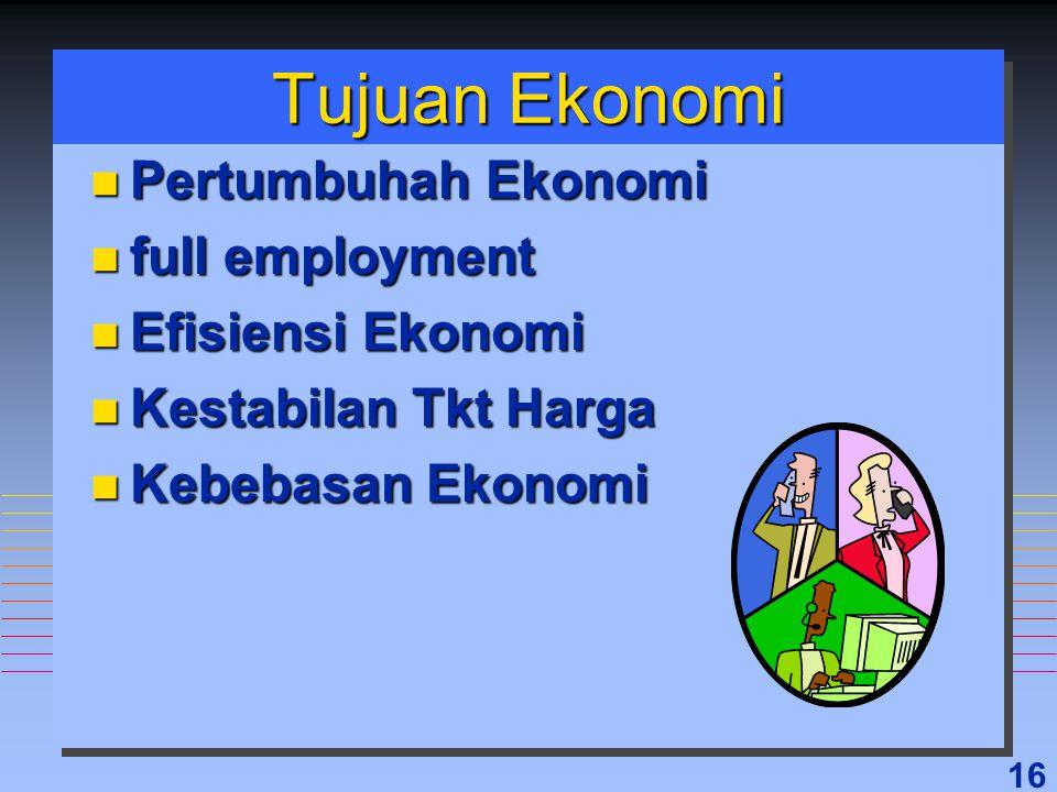 Tujuan Ekonomi Pertumbuhah Ekonomi full employment Efisiensi Ekonomi