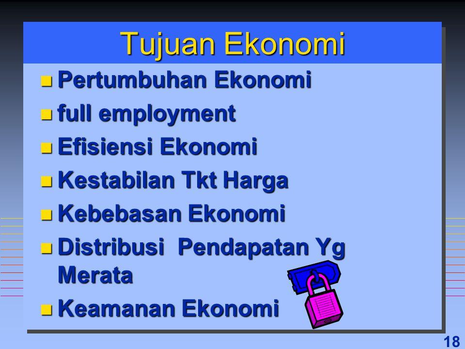 Tujuan Ekonomi Pertumbuhan Ekonomi full employment Efisiensi Ekonomi