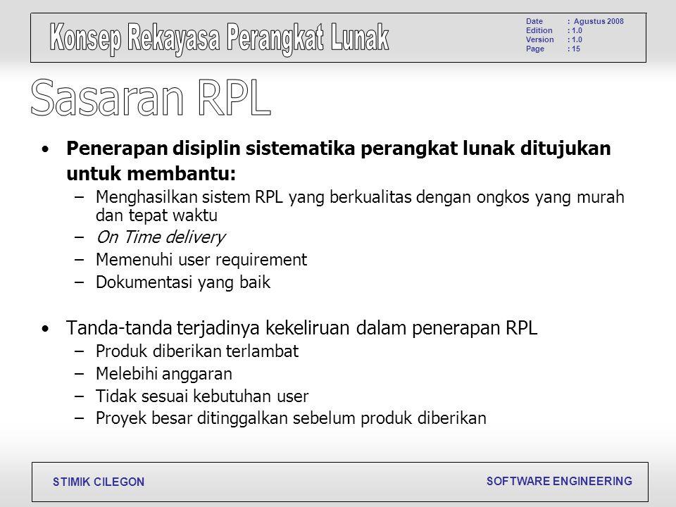 Sasaran RPL Penerapan disiplin sistematika perangkat lunak ditujukan
