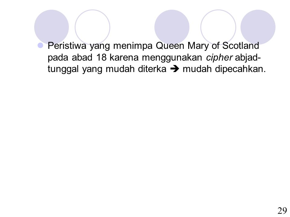 Peristiwa yang menimpa Queen Mary of Scotland pada abad 18 karena menggunakan cipher abjad-tunggal yang mudah diterka  mudah dipecahkan.