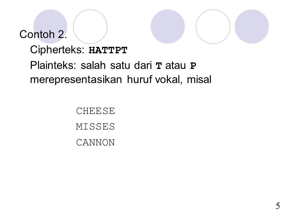 Contoh 2. Cipherteks: HATTPT. Plainteks: salah satu dari T atau P merepresentasikan huruf vokal, misal.