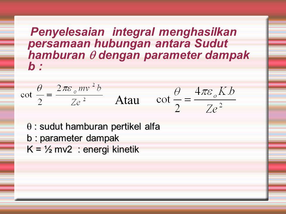 Penyelesaian integral menghasilkan persamaan hubungan antara Sudut hamburan  dengan parameter dampak b :