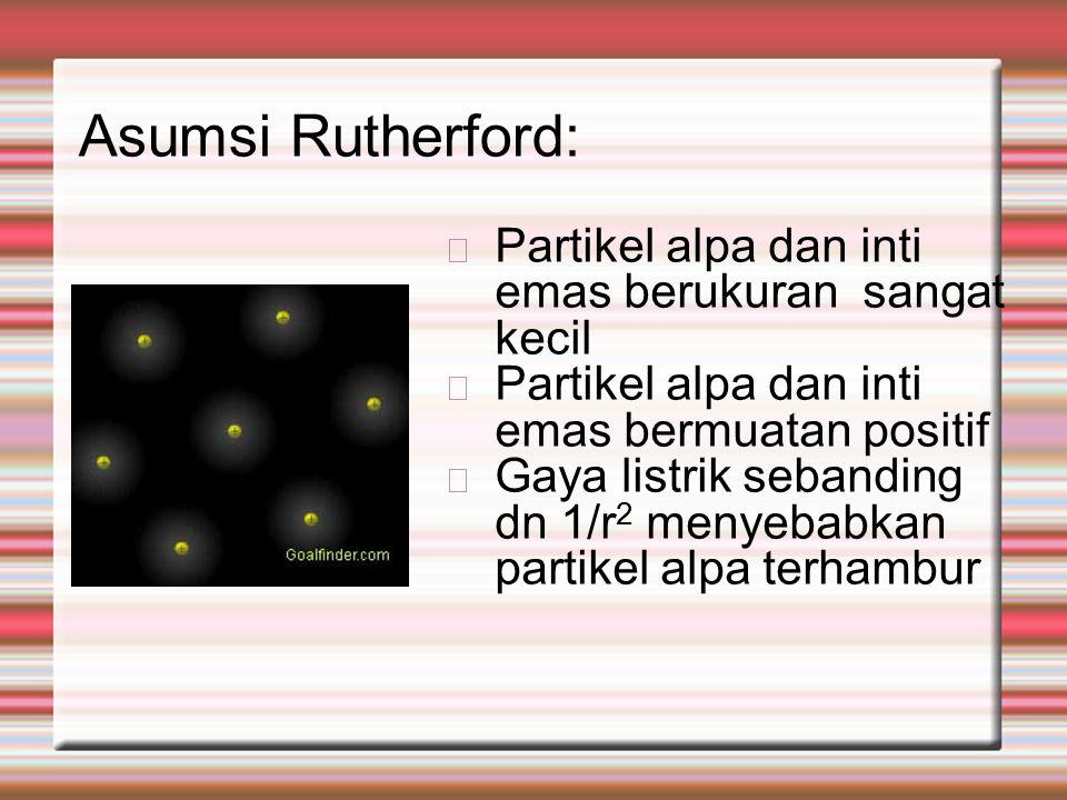 Asumsi Rutherford: Partikel alpa dan inti emas berukuran sangat kecil