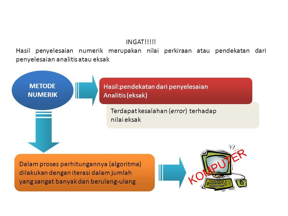 INGAT!!!!! Hasil penyelesaian numerik merupakan nilai perkiraan atau pendekatan dari penyelesaian analitis atau eksak