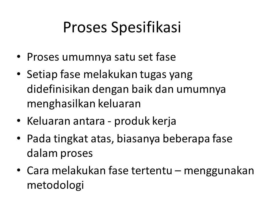 Proses Spesifikasi Proses umumnya satu set fase
