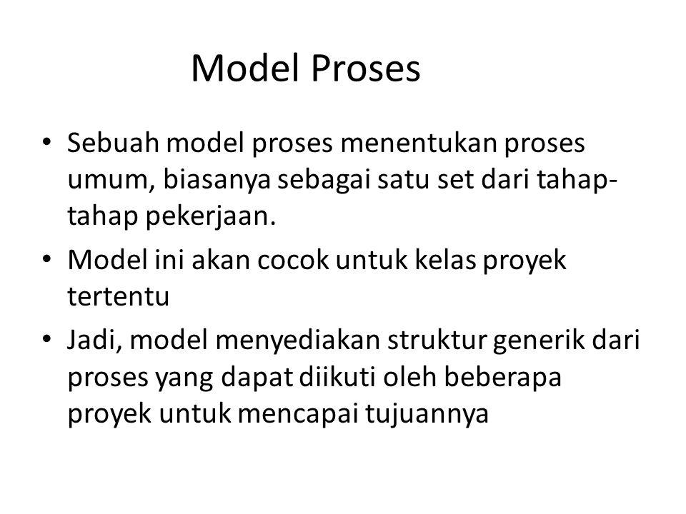 Model Proses Sebuah model proses menentukan proses umum, biasanya sebagai satu set dari tahap-tahap pekerjaan.