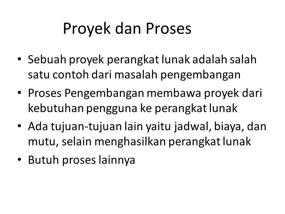 Proyek dan Proses Sebuah proyek perangkat lunak adalah salah satu contoh dari masalah pengembangan.