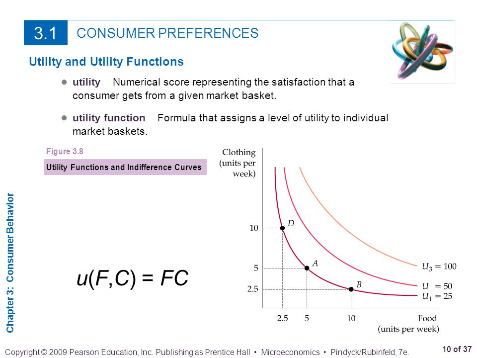 u(F,C) = FC 3.1 CONSUMER PREFERENCES Utility and Utility Functions