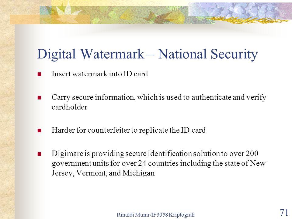 Digital Watermark – National Security