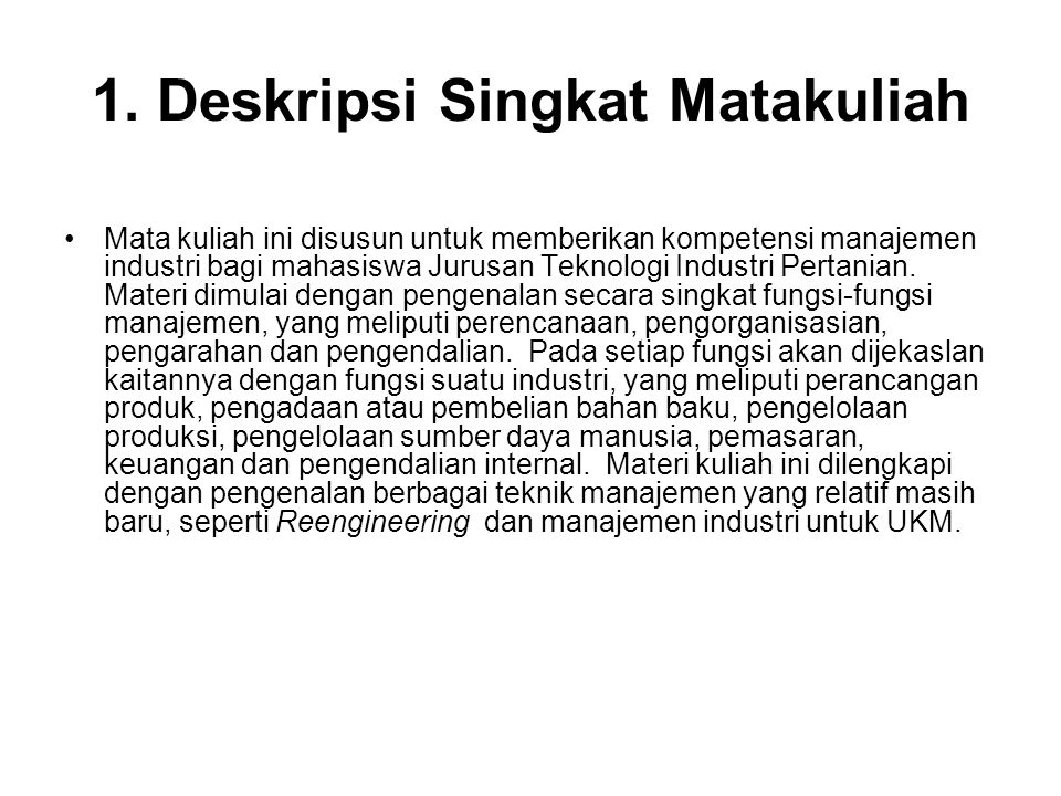 1. Deskripsi Singkat Matakuliah