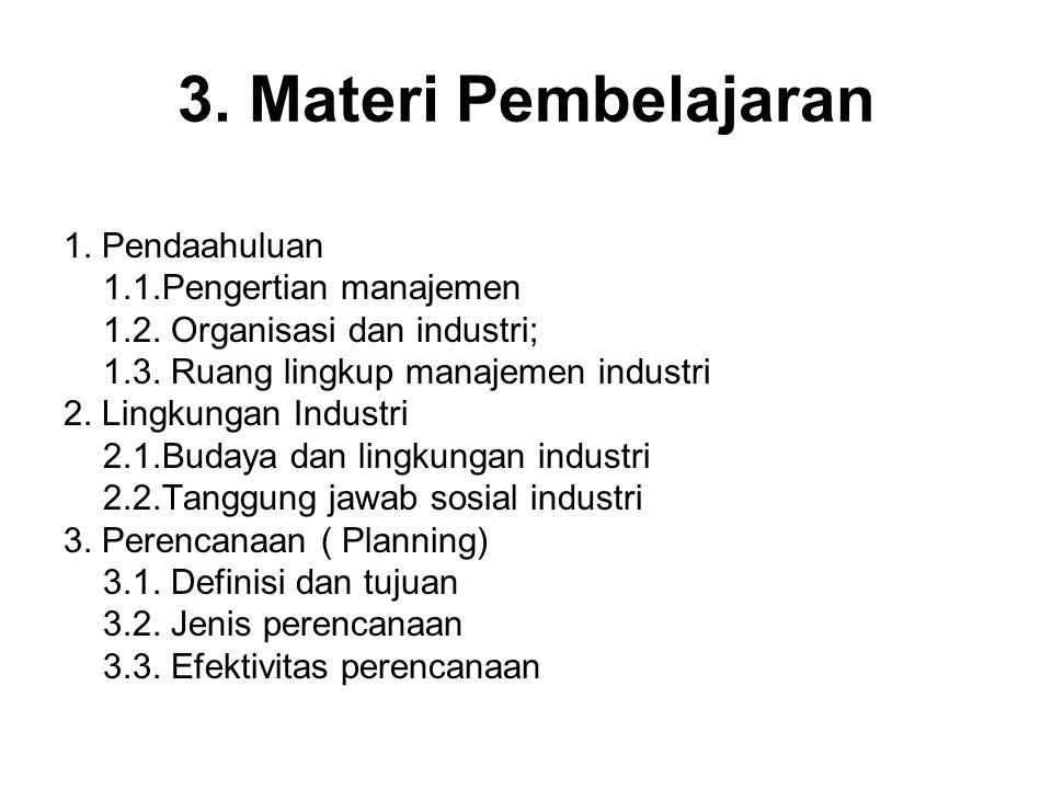 3. Materi Pembelajaran 1. Pendaahuluan 1.1.Pengertian manajemen