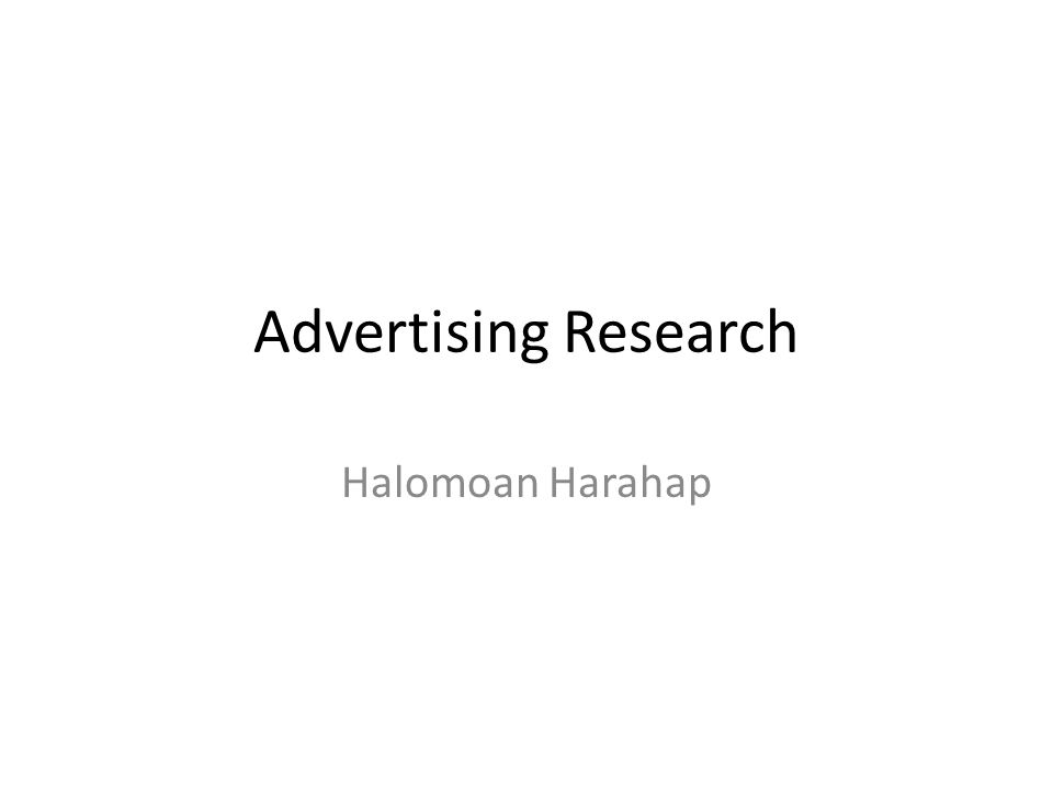 Advertising Research Halomoan Harahap