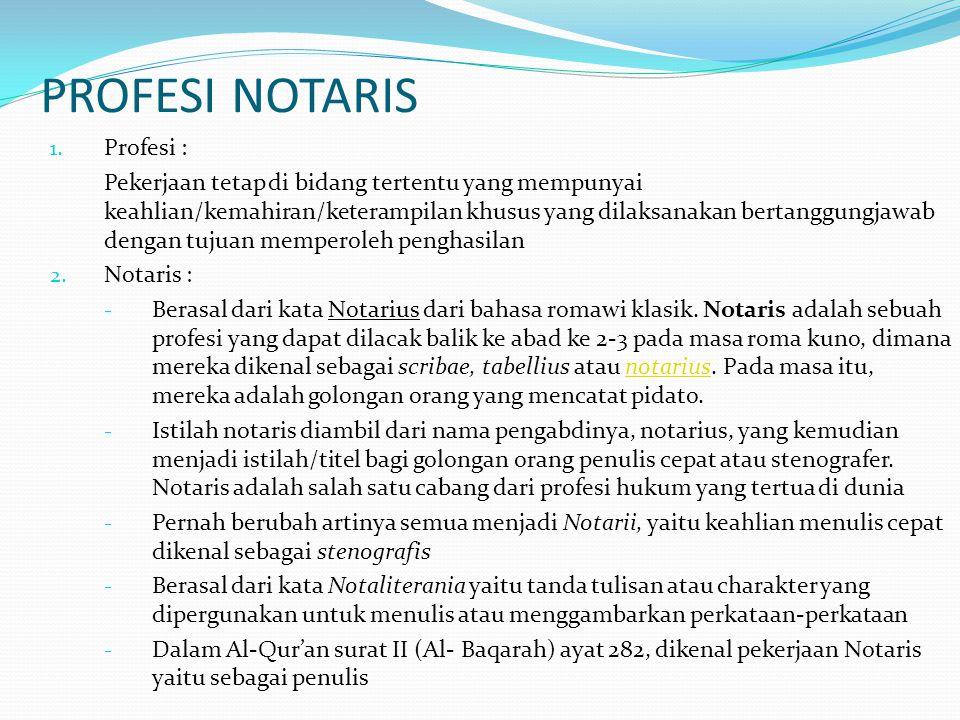 PROFESI NOTARIS Profesi :