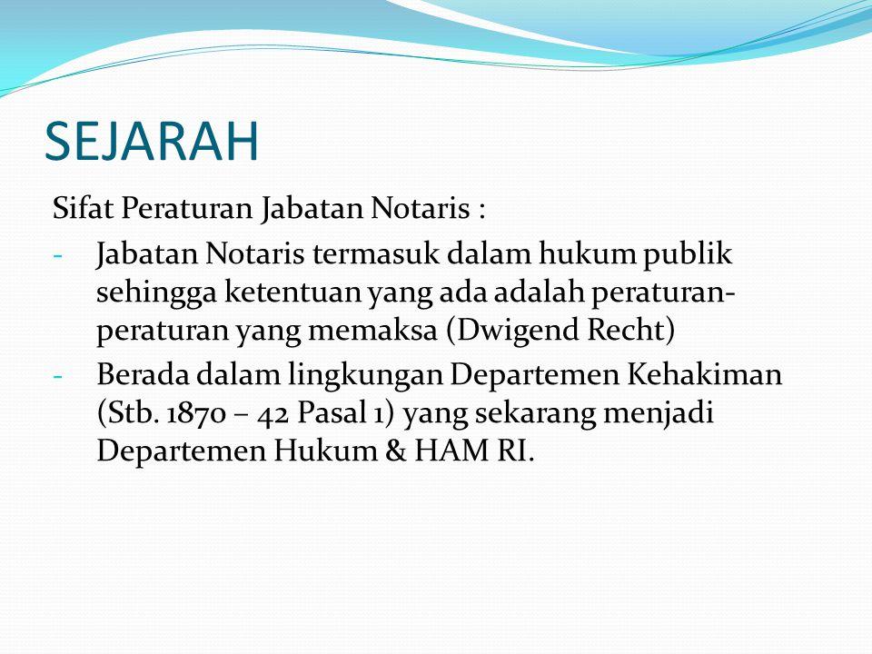 SEJARAH Sifat Peraturan Jabatan Notaris :