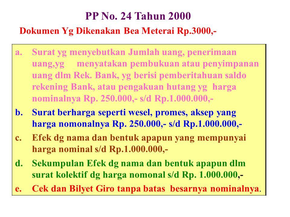 PP No. 24 Tahun 2000 Dokumen Yg Dikenakan Bea Meterai Rp.3000,-