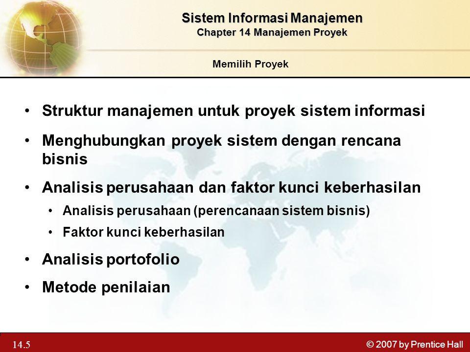 Sistem Informasi Manajemen Chapter 14 Manajemen Proyek