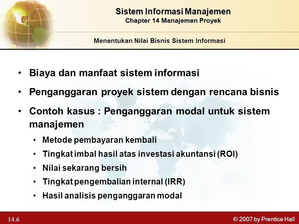 Biaya dan manfaat sistem informasi