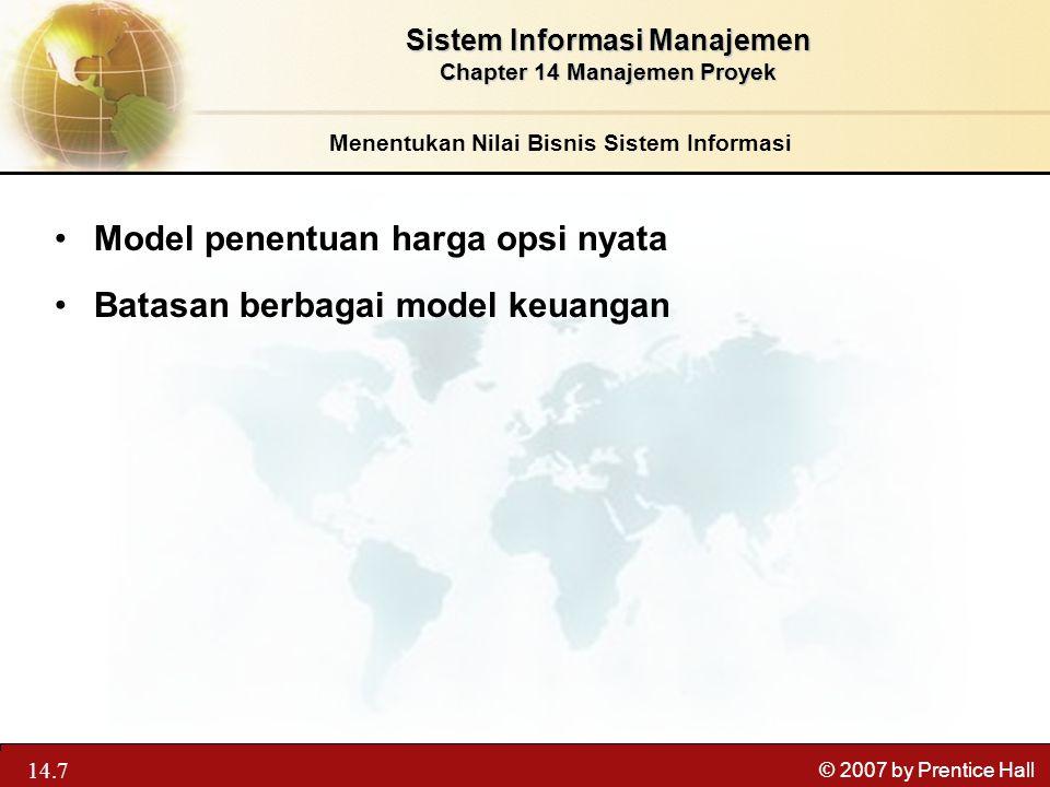 Model penentuan harga opsi nyata Batasan berbagai model keuangan
