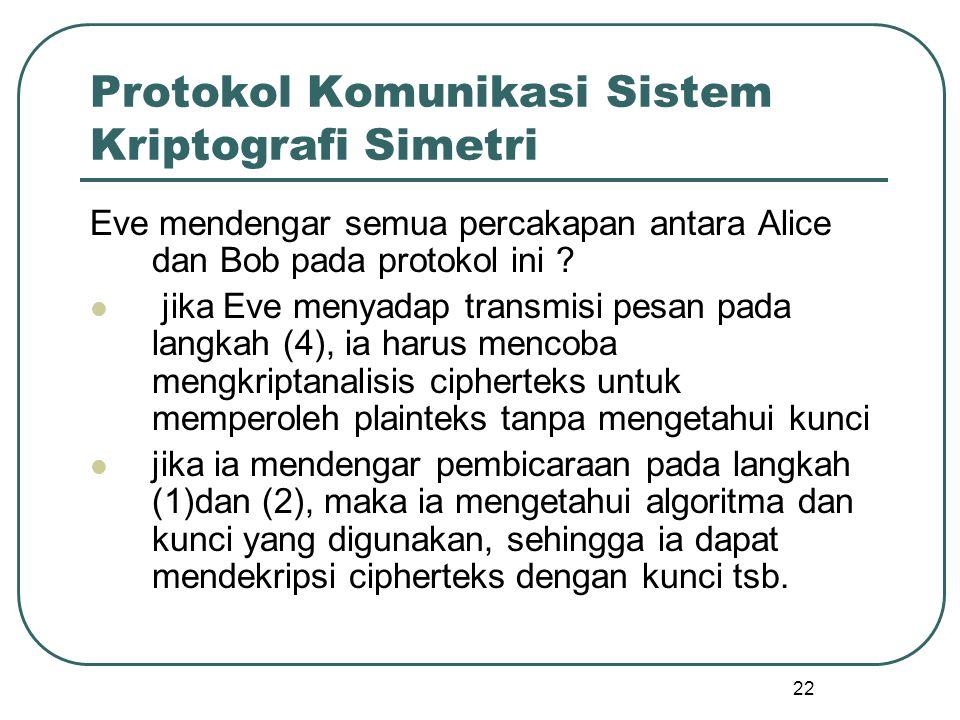 Protokol Komunikasi Sistem Kriptografi Simetri