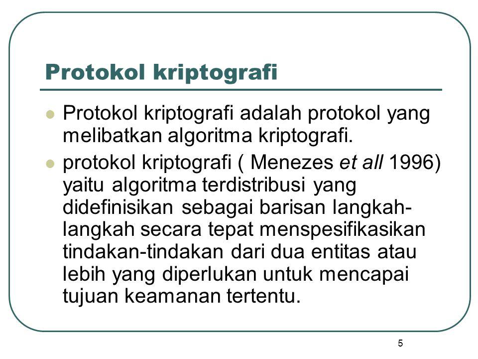 Protokol kriptografi Protokol kriptografi adalah protokol yang melibatkan algoritma kriptografi.