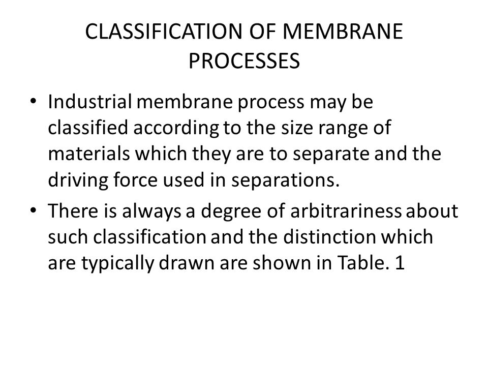 CLASSIFICATION OF MEMBRANE PROCESSES