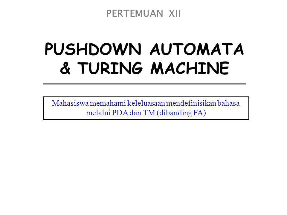 PUSHDOWN AUTOMATA & TURING MACHINE