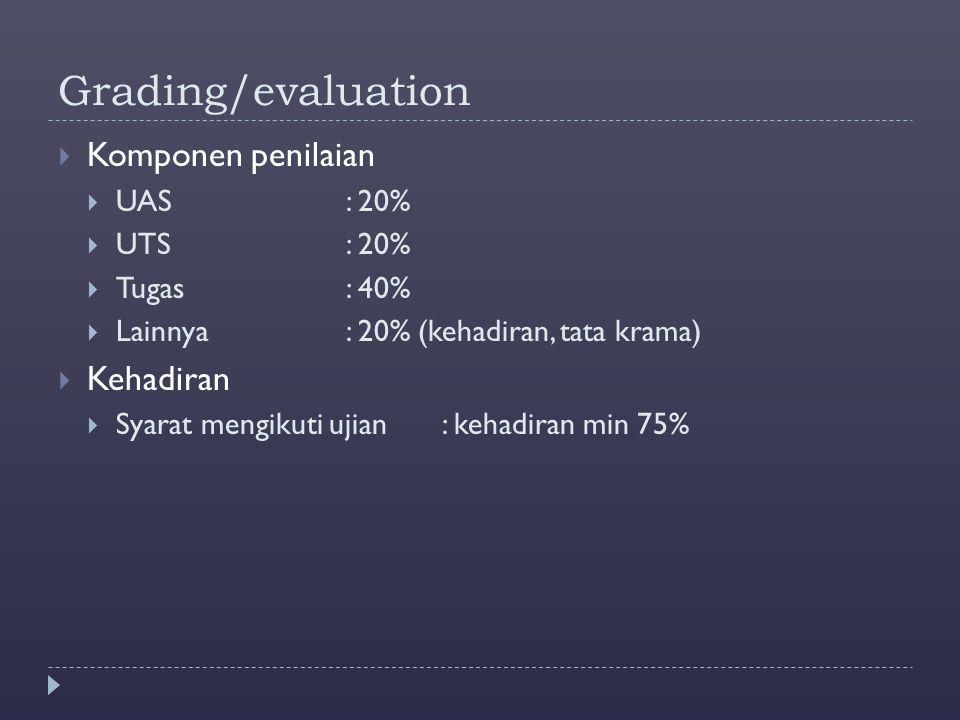 Grading/evaluation Komponen penilaian Kehadiran UAS : 20% UTS : 20%