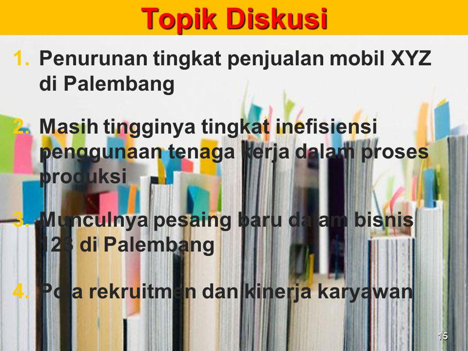 Topik Diskusi Penurunan tingkat penjualan mobil XYZ di Palembang