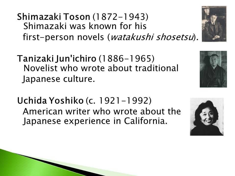 Shimazaki Toson (1872-1943) Shimazaki was known for his first-person novels (watakushi shosetsu).