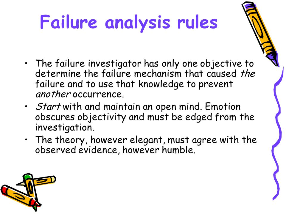 Failure analysis rules