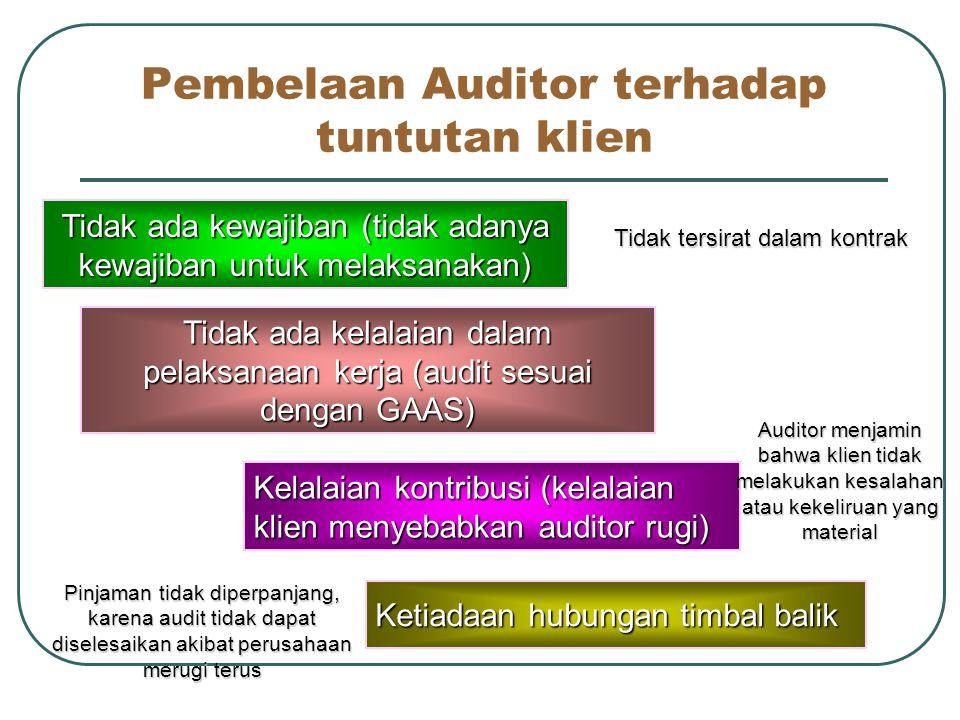 Pembelaan Auditor terhadap tuntutan klien
