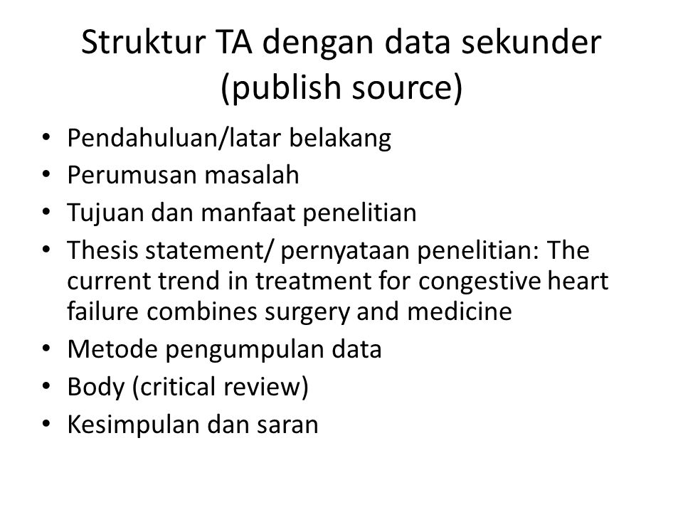 Struktur TA dengan data sekunder (publish source)