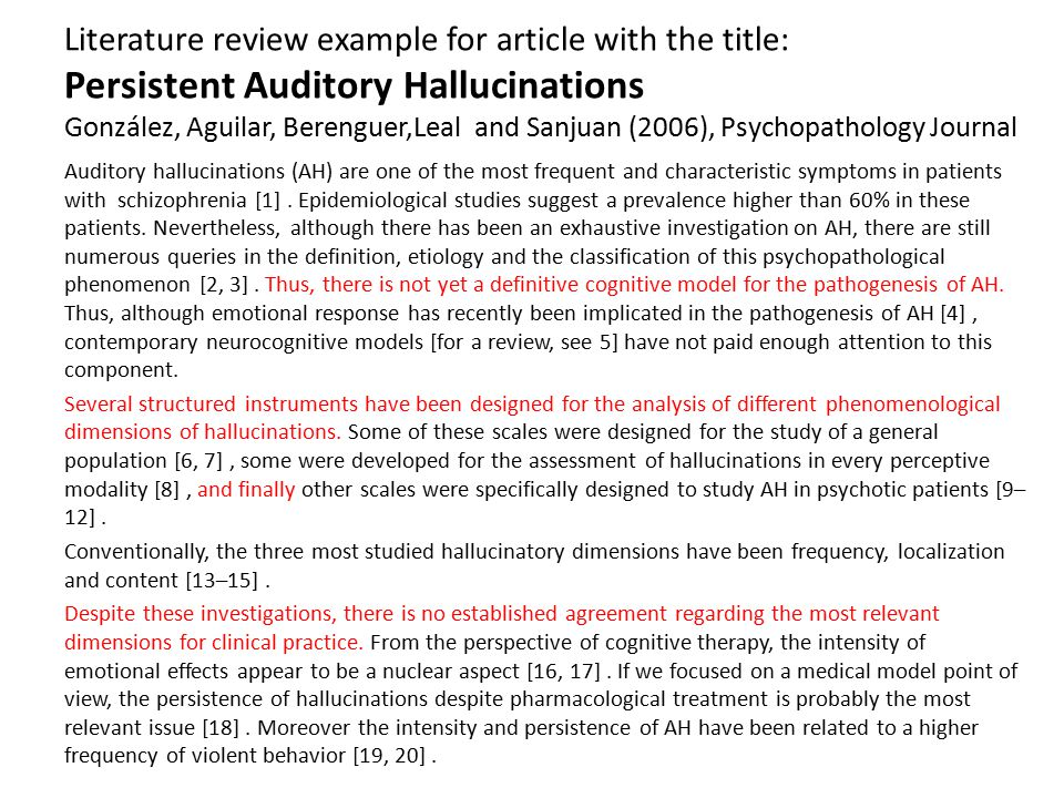 Literature review example for article with the title: Persistent Auditory Hallucinations González, Aguilar, Berenguer,Leal and Sanjuan (2006), Psychopathology Journal
