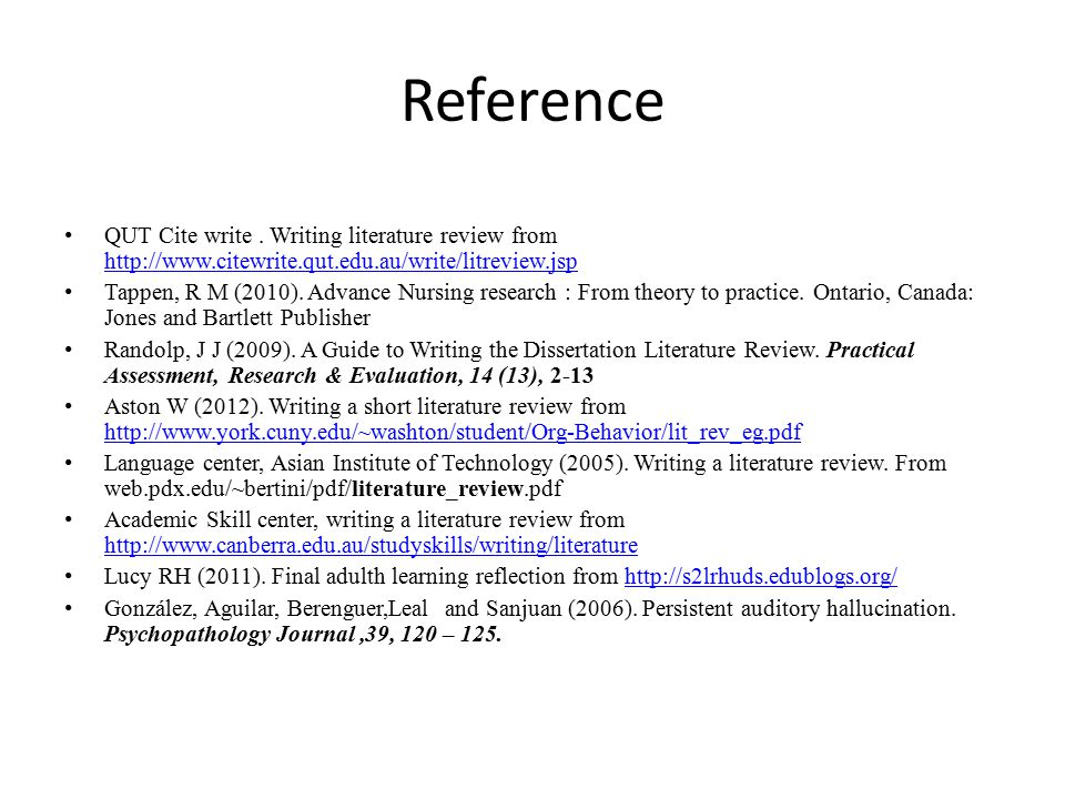 Reference QUT Cite write . Writing literature review from http://www.citewrite.qut.edu.au/write/litreview.jsp.
