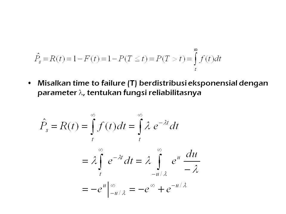 Misalkan time to failure (T) berdistribusi eksponensial dengan parameter , tentukan fungsi reliabilitasnya