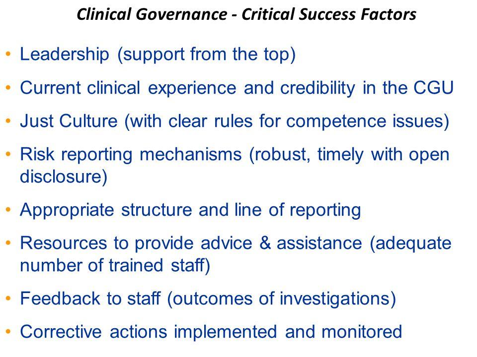 Clinical Governance - Critical Success Factors