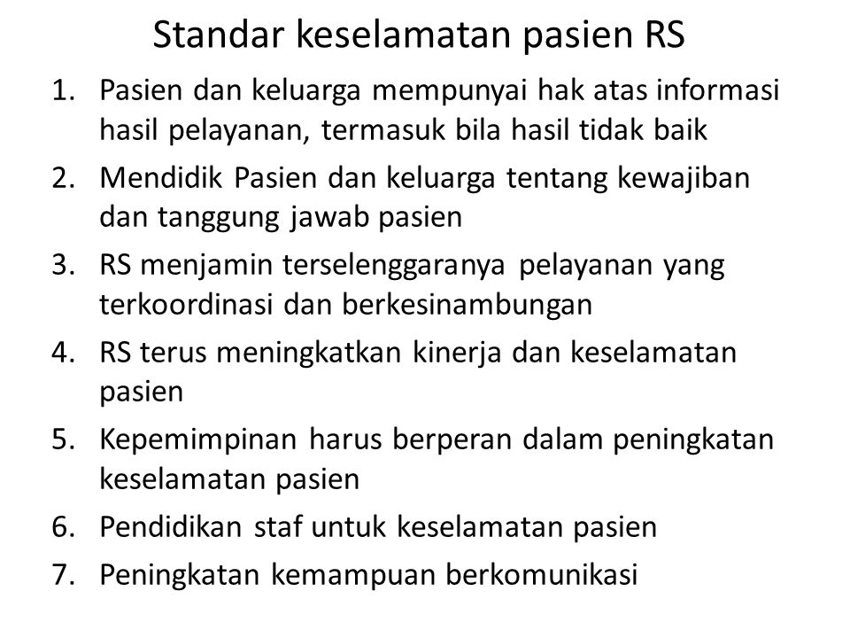 Standar keselamatan pasien RS