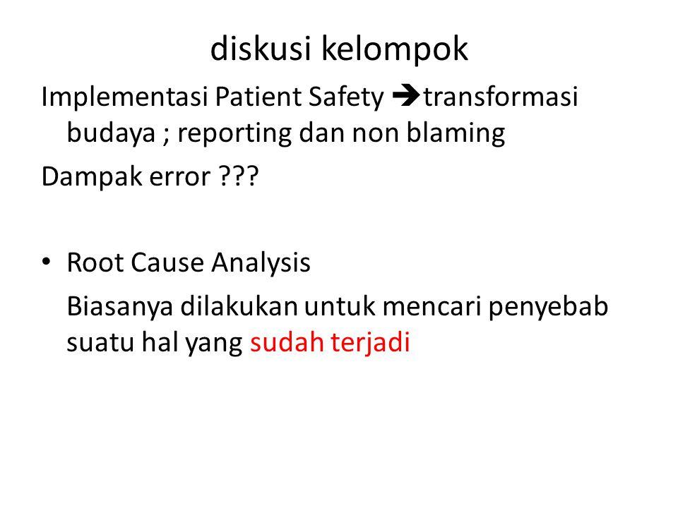 diskusi kelompok Implementasi Patient Safety transformasi budaya ; reporting dan non blaming. Dampak error