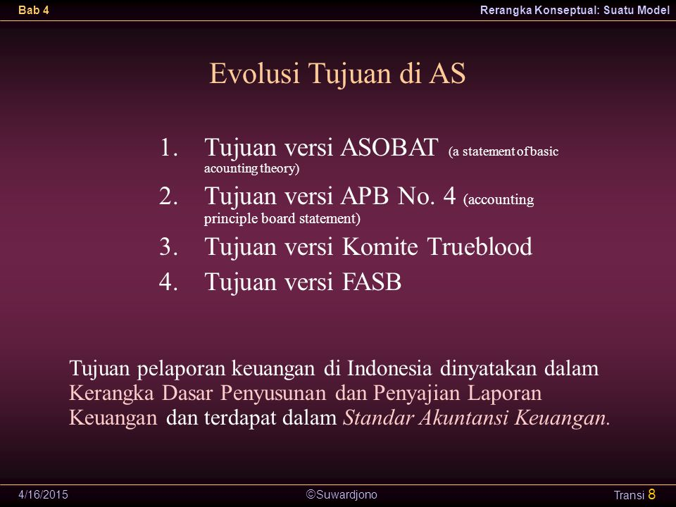 Evolusi Tujuan di AS Tujuan versi ASOBAT (a statement of basic acounting theory) Tujuan versi APB No. 4 (accounting principle board statement)