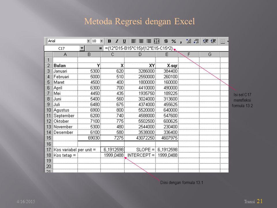 Metoda Regresi dengan Excel
