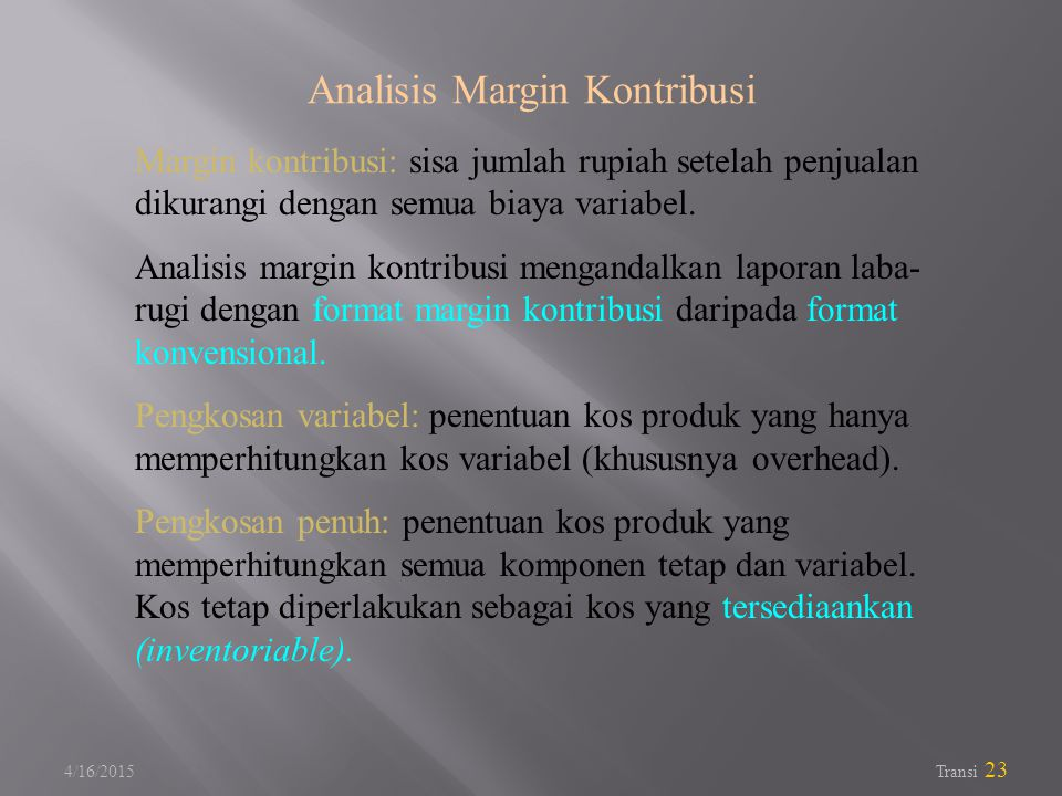 Analisis Margin Kontribusi