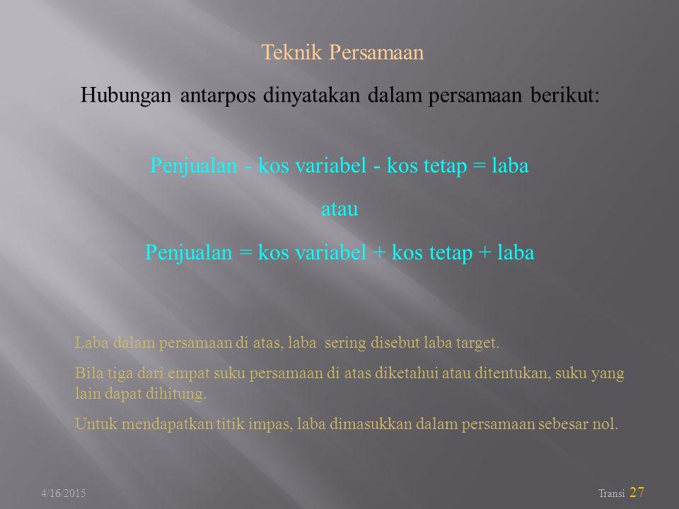 Hubungan antarpos dinyatakan dalam persamaan berikut: